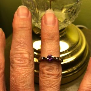 Jewelry - Sterling Silver with Diamond & Amethyst Ring